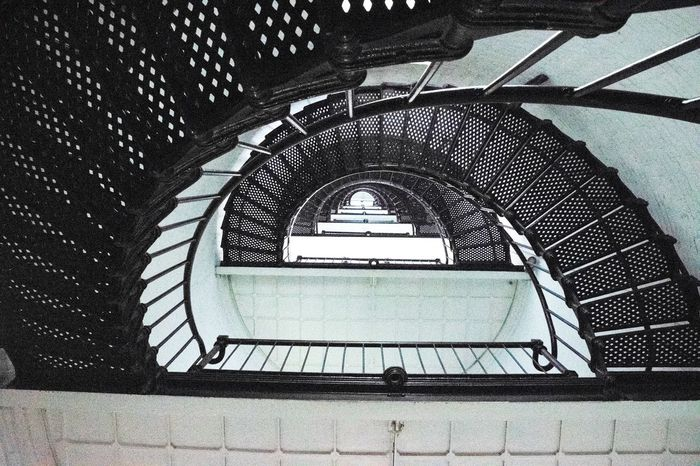 Inside the St. Augustine Lighthouse St. Augustine, FL  United States Staircase SpiralBuilt Structure Architecture Steps Steps And Staircases Railing No People Spiral Staircase Indoors  Nikon D5300 Photographer Black And White