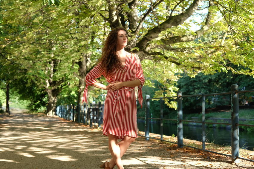 summer stroll model Julia Bond Adult Beautiful Woman Beauty Clothing Day Dress Fashion Full Length Hair Hairstyle Long Hair Nature One Person Outdoors Plant Standing Tree Women Young Adult Young Women