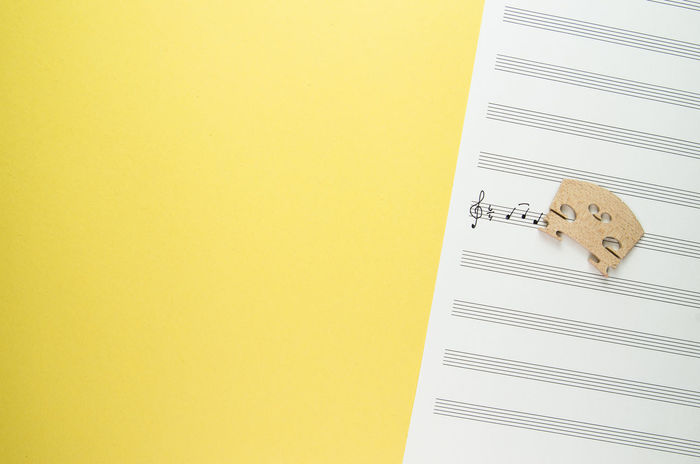 staff paper and violin bridge Classical Music String Close-up Copy Space Music Concept Music Paper Musical Note No People Sheet Music String Instrument Studio Shot Treble Clef Violin Bridge Yellow Yellow Background