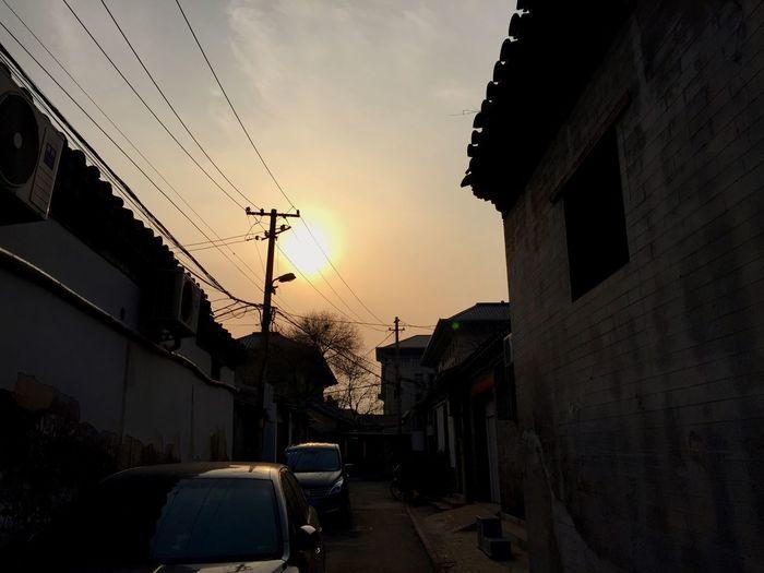 日落。sunset Hello World
