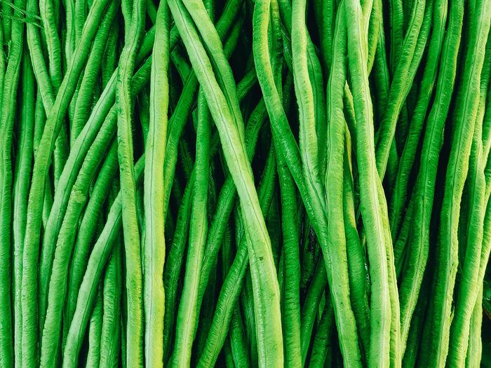 Full frame shot of green beans for sale at market