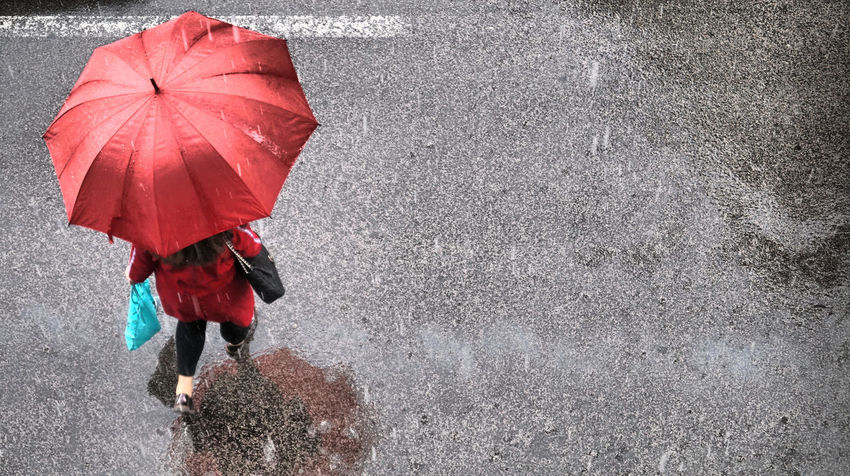 Red Umbrella City High Angle View Protection Rain Red Street Street Photography Umbrella Unrecognizable Person Walking Wet