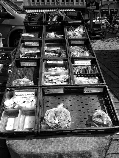 High angle view of fish for sale in store