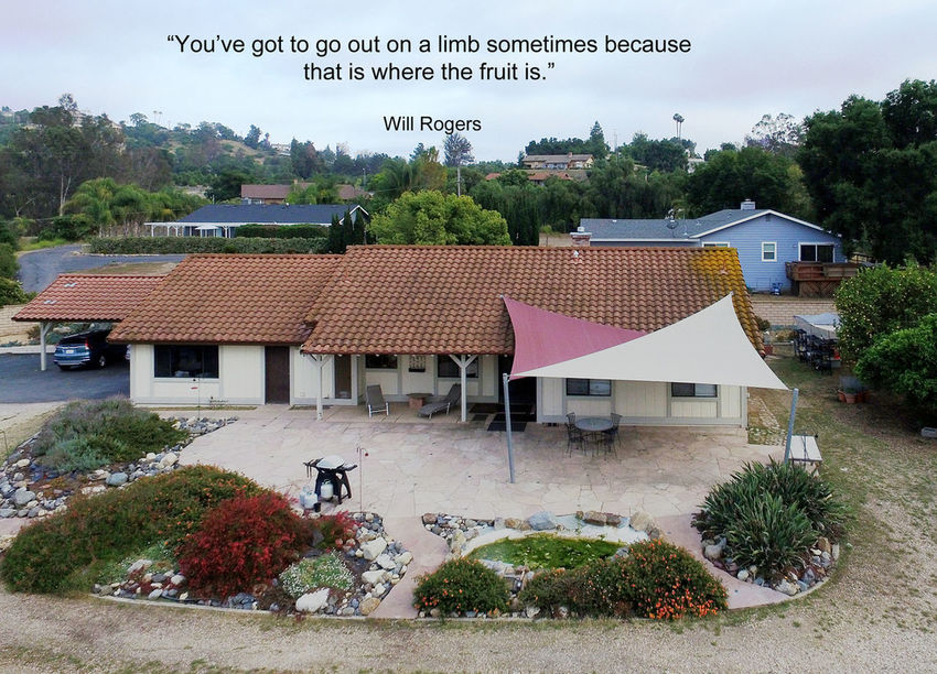 This is a #drone view of a home that changed hands today in #Fallbrook along #WillowGlenRd. We mark the event with a quote by #Americanhumorist #WillRogers. If this #quotograph resonates with you feel free to #repost for others to enjoy. Aerial Shots Drone  Fallbrook, CA Quote Quotograph Will Rogers Willow Glen Home