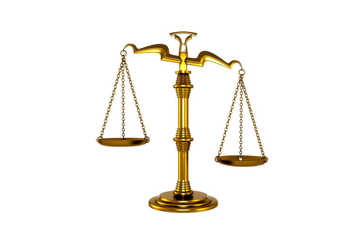 Studio Shot White Background Justice - Concept Law Indoors  Weight Scale Legal System Scale  No People Cut Out Gold Colored Balance Metal Antique Equality Still Life Copy Space Instrument Of Measurement Courthouse