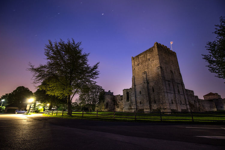 Portchester Castle Against Sky At Night
