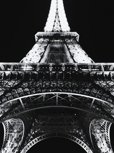 The Lady Famous Place Eiffel Tower Architecture Travel Tower Night City Sky Metal Eyeem Collection Street Photography Monochrome Photography Street Bnw Blackandwhite Photography EyeEm gallery Paris, France  Built Structure