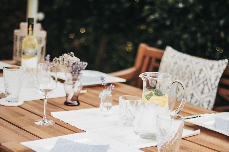 Wine glasses on table at restaurant