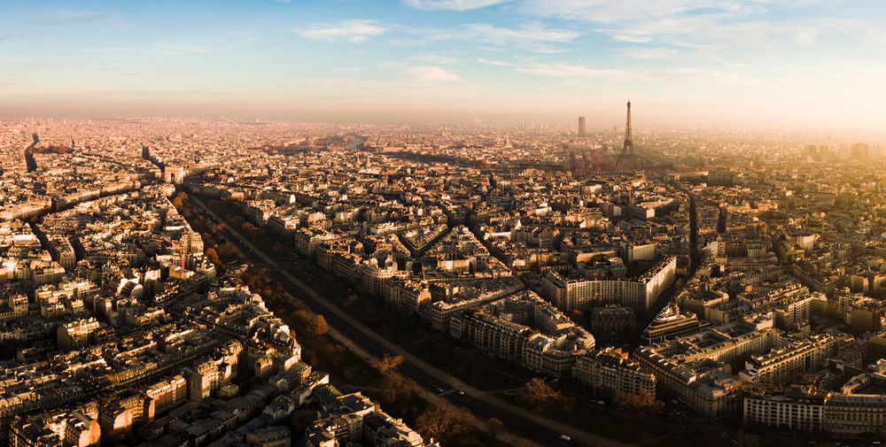 Aerial Photography Aerial View Arc De Triomphe Architecture Building Exterior City Cityscape Day Drone  Eiffel Tower High Angle View No People Outdoors Paris Paris, France  Sky Sunset Urban Skyline