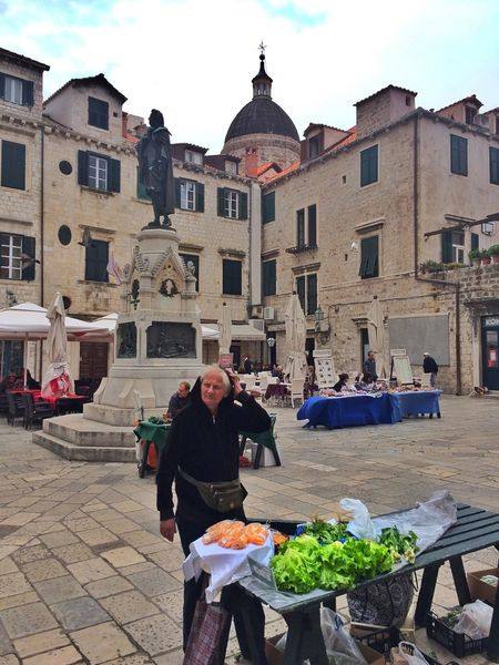 Dubrovnik Croatia Street Vendor Market Old Woman Farm Vegitables