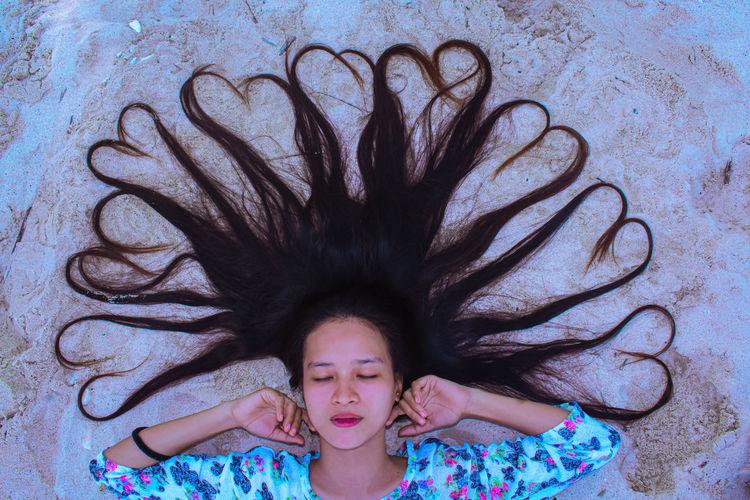 High angle portrait of girl