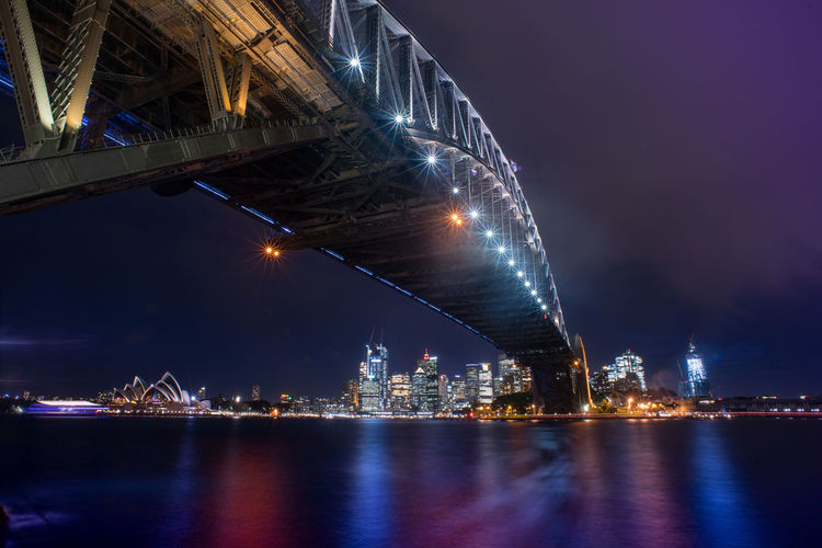 Sydney harbor bridge at night with sydney skyline building in background.long exposure shot.