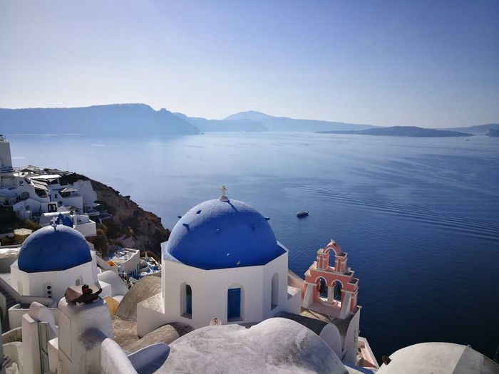 EyeEm Selects GREECE ♥♥ Santorini, Greece Santorini View Dome Whitewashed Religion High Angle View Travel Destinations Sea Spirituality Summer Architecture Outdoors Blue History Water Day No People Sky Roof Place Of Worship Beach Nature