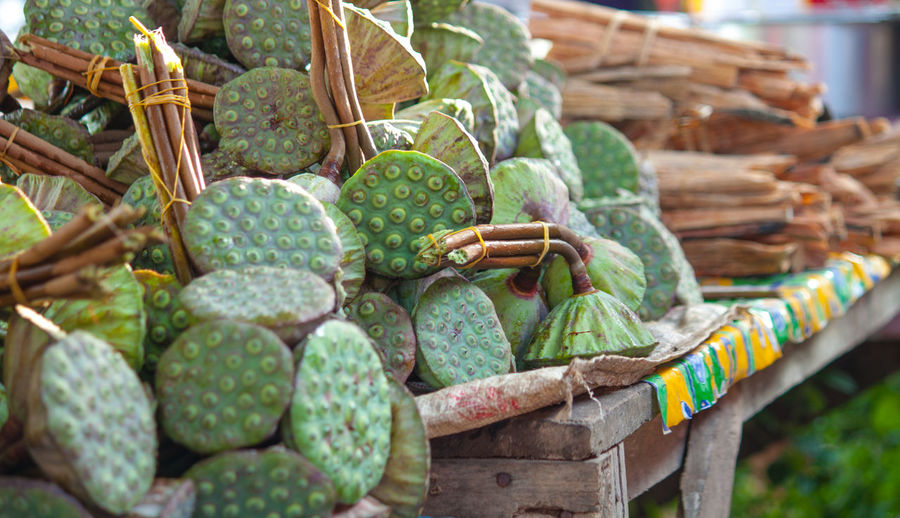 Lotus pods at market for sale