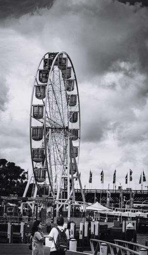 Snap A Stranger Sky Ferris Wheel Cloud - Sky Amusement Park Arts Culture And Entertainment Architecture Leisure Activity Amusement Park Ride Day Building Exterior Outdoors Big Wheel No People Blackandwhite Black And White Sydney Australia