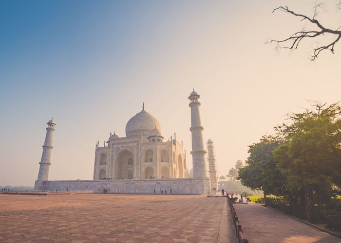 Taj Mahal Arch Architecture Building Exterior Built Structure Clear Sky Day Dome History Monument Nature No People Outdoors Plant Religion Sky The Past Tourism Travel Travel Destinations Tree