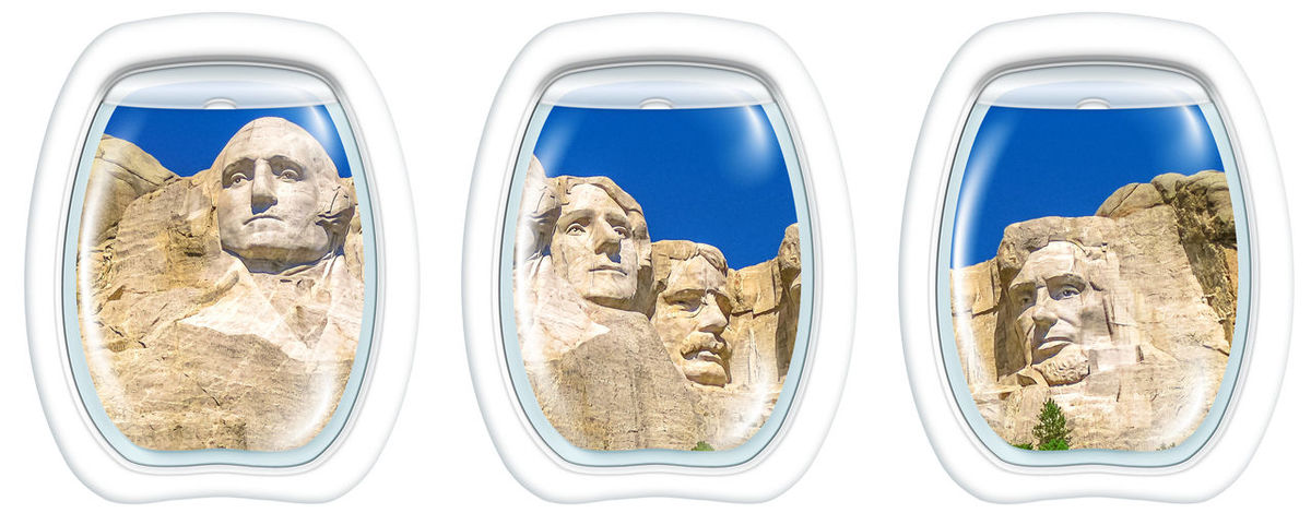 Three porthole frame windows on Aerial view of Mount Rushmore National Memorial of United States of America in South Dakota. US historical presidents: Washington, Jefferson, Roosevelt, Lincoln. United States National Park USA America American Patriotism Park Nature Mont Rushomore Dakota Sud USA Mount Rushmore Mount Rushmore National Memorial Mount Rushmore National Monumen Monument South Dakota Roosevelt Lincoln Lincoln Memorial Jefferson Washington Mountain Scupture Heads President Scenic Flight Plane Airplane Portholes Windows Helicopter Windshield Flight Flying POV Pilot Cabin Keystone Keystone State Park No People Mammal Cut Out Travel White Background Animal Shape Animal Themes Pets Domestic Animals Mode Of Transportation Indoors  Domestic Transportation Studio Shot Dog Panoramic Canine Close-up Side By Side Silver Colored