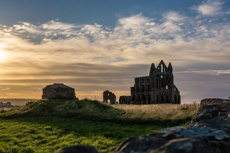 Abbey Orange Whitby Whitby Abbey Ancient Civilization Architecture Beauty In Nature Building Exterior Built Structure Cloud - Sky Day Grass History Nature No People Old Ruin Outdoors Scenics Sky Sun Set Sunset Travel Destinations