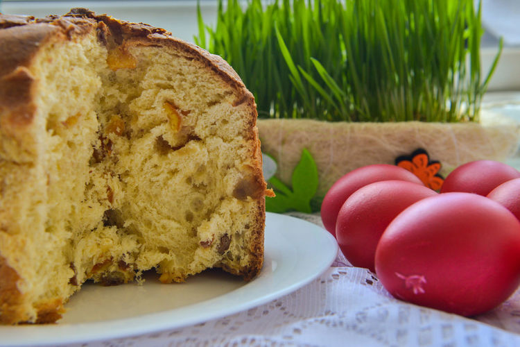 Easter Bread with Easter Red Eggs Easter Egg Baked Cake Close-up Dessert Easter Cake Food Food And Drink Freshness Fruit Healthy Eating Indoors  Indulgence No People Orthodox Paska Plate Ready-to-eat Snack Still Life Sweet Sweet Food Table Temptation