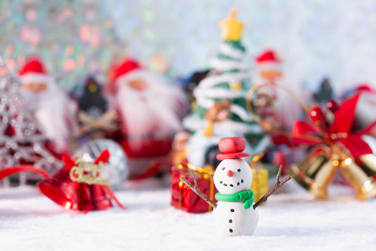 Close-up of figurine with ice cream cone during christmas
