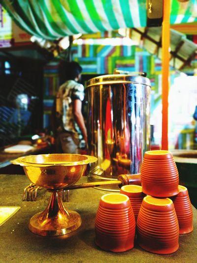 tandoori chai Brass Utensils Cups On Table Cups Of Tea Nightphotography Introvertlife Introverts Paradise Tandoori Chai Close-up Stall Market Stall Beverage Street Market Bazaar