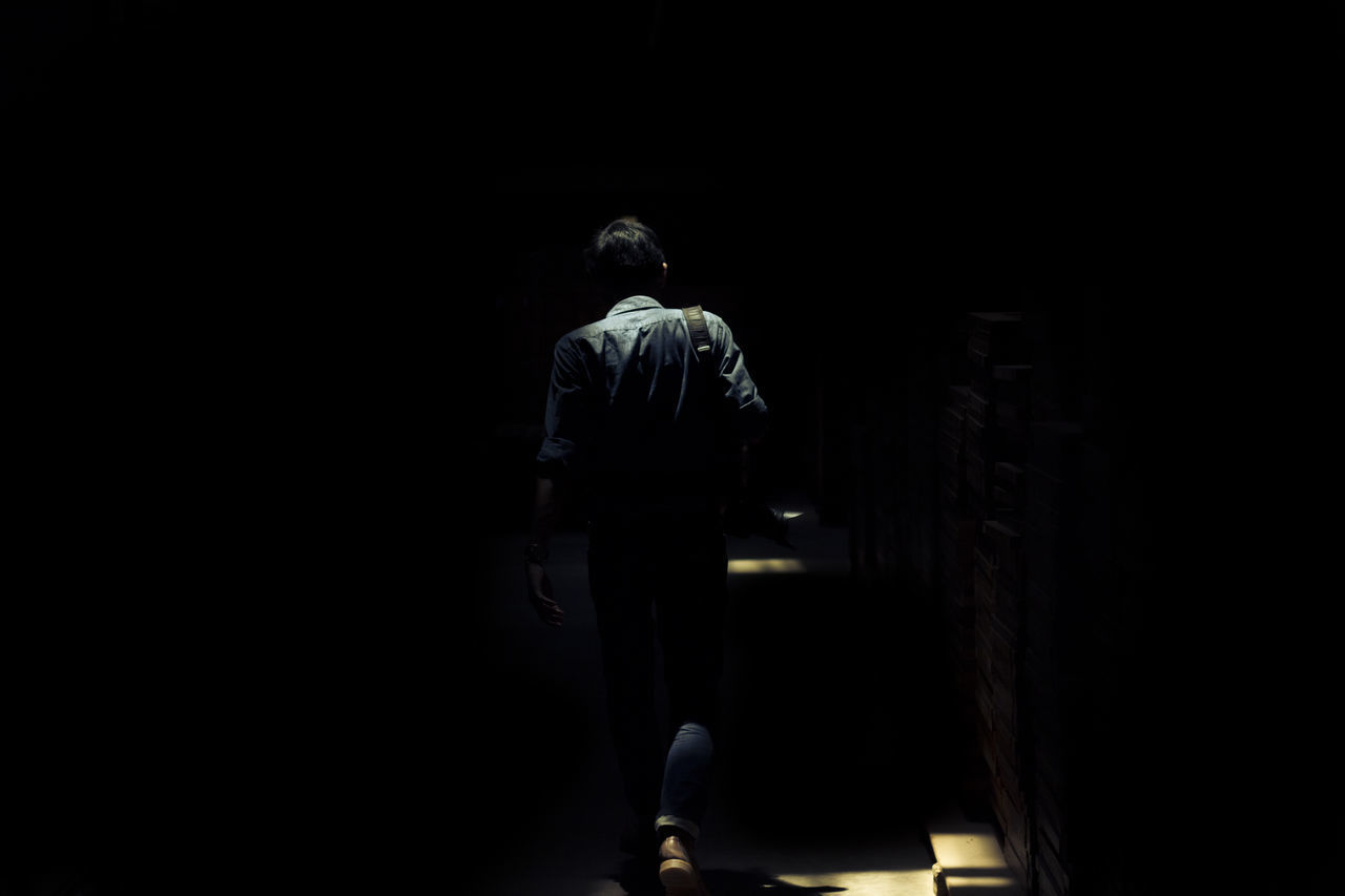 rear view, one person, real people, leisure activity, lifestyles, copy space, full length, men, dark, architecture, walking, standing, built structure, indoors, silhouette, three quarter length, unrecognizable person, women, stage