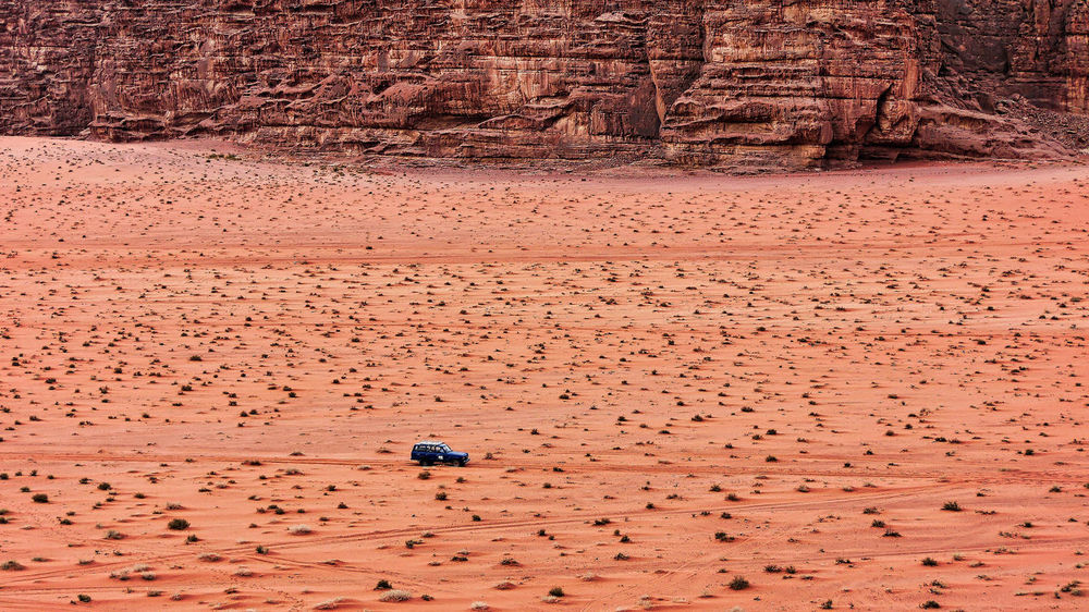 Wadi Rum, Jordan 4x4 Jordan Middle East Rock Formation Transportation Wadi Rum Arid Climate Beauty In Nature Brown Day Desert Landscape Nature No People Outdoors Physical Geography Red Sand Sand Dune Scenics Travel Destinations