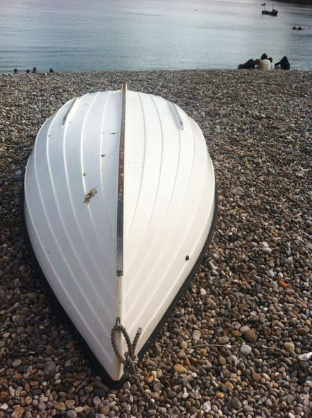 Boat Upturned Boat Pepplebeach Devon Gazing Out To Sea White Boat White Board Teardrop