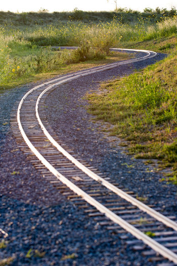 Railroad track by road