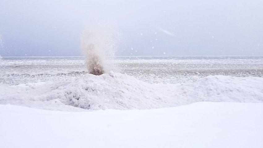 Sky Water No People Beauty In Nature Landscape Lakeshore Lake Michigan Ice Volcano Ice Outdoors Day Snow Nature Cold Temperature Motion Winter