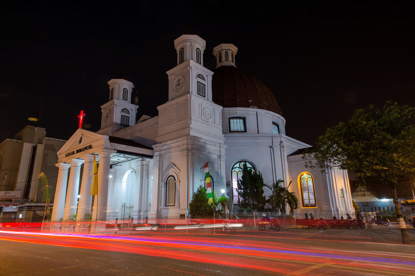 Gereja Blenduk Semarang at Night, Semarang, Central java, Indonesia Church Long Exposure Shot Nightphotography Protestant Architecture Building Exterior Built Structure Christian Church Clear Sky Gereja Blenduk Gereja Blenduk Semarang Illuminated Light Trail Long Exposure Motion Night No People Outdoors Place Of Worship Religion Road Sky Speed Spirituality Trail Lights