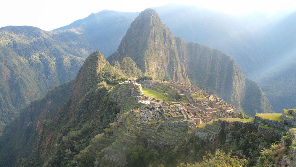 Rays of sunlight on Macchu Picchu Hiking Hiking Trail Inca Trail Macchu Picchu Mountain Mountain Range Nature Peru Tranquility