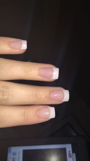 Nails Acyrlic White French Tips Hand Finger Finger Nails Human Hand Human Finger Human Body Part Indoors  One Person Close-up Nail Polish People