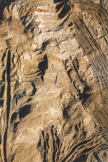 High angle view of rock formation on land