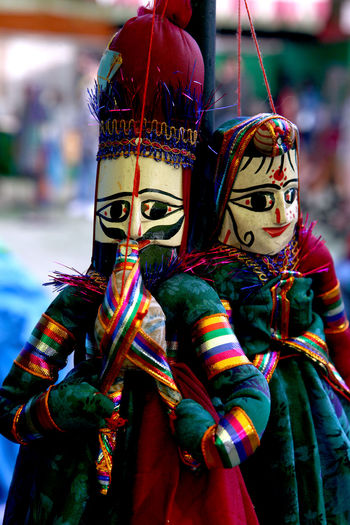 Focus On Foreground Multi Colored Celebration Outdoors Close-up Day Clown Puppets Enimated Enimation Character Stage Story Play Performance String Puppets India Culture Tradition Traditional