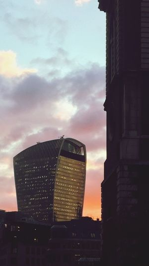 St Bololph Without Aldgate Walkie Talkie Building Sunset Architecture Building Exterior Built Structure Skyscraper Sky Outdoors City Cityscape First Eyeem Photo