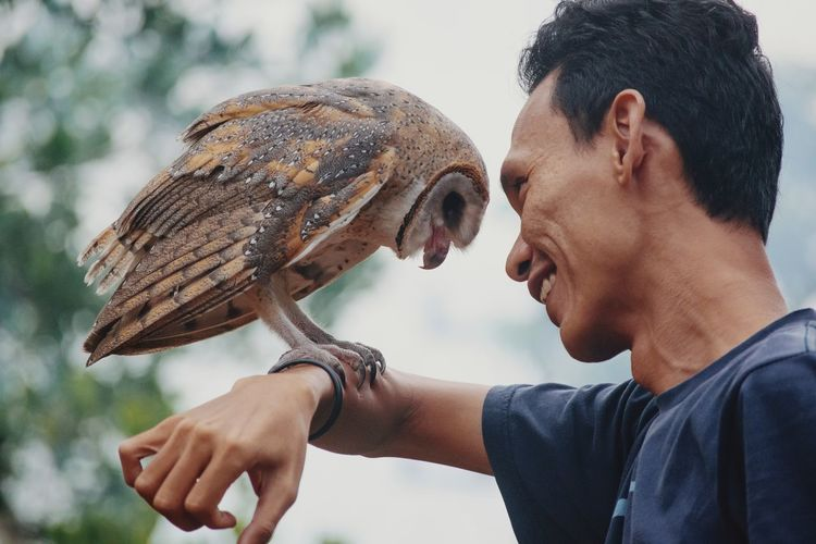Smiling Man Holding Owl On Hand