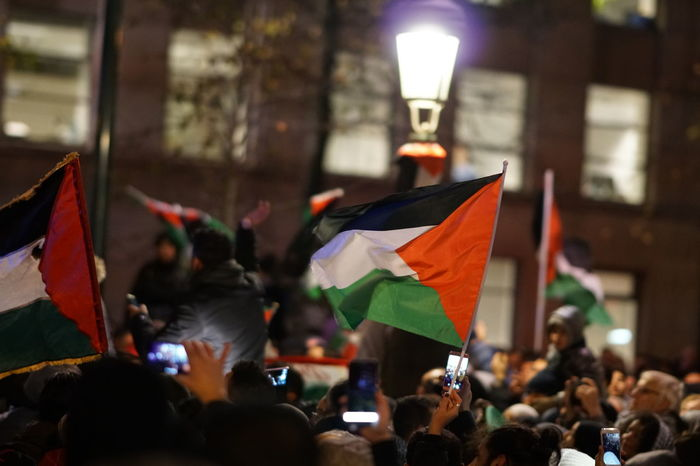 Brussels, Belgium - December 8, 2017: Pro-Palestinian activists took to the streets of the Belgian capital in protest against US President Donald Trump's recognition of Jerusalem as capital of Israel Belgium Independence Israeli Middle East Palestine Peace Protest Uprising Crowd Crowd Of People Demonstration Editorial  Flag Intifada Palestinian Parade Policy Political Politics And Government Protesters Protesting Self Determination War
