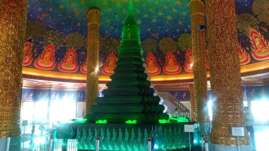 Low angle view of illuminated temple building