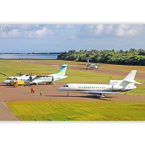 clicked a maldivian flight taking off while flyme and g-ion private jet was parked on the apron. ;) Ias Vas Gion Kaadedhdhoo airport runway flyme maldivian maldives.mv ilovemaldives mothernature green