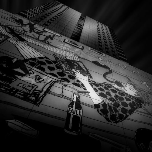 Modern Architecture, Art by Faile Architecture Black And White Building Exterior Communication Faile Fine Art Photography Low Angle View No People Urban Geometry