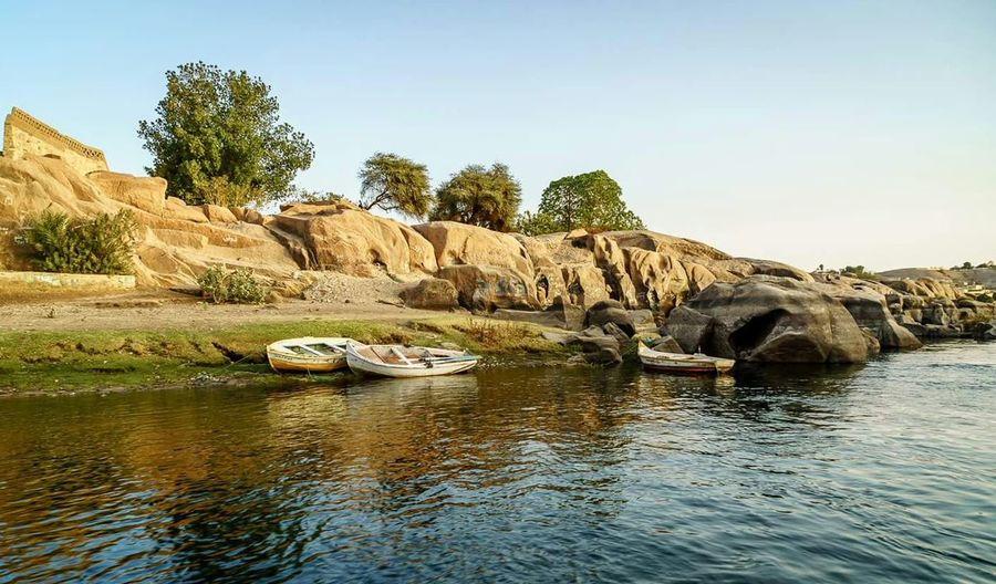 The River Nile Beauty Boats Stones Trees Nature Original Photo Egypt Aswan