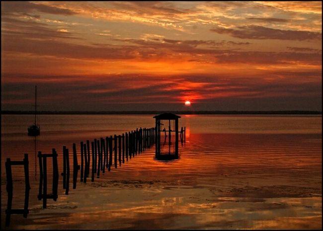 St Johns River Jacksonville Riverside Sunrise Sunrise Silhouette Pier