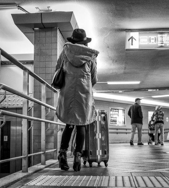 Suitcasing Around Japan Japanese  Japan Photography ASIA Streetphoto_bw Streetphotography Streetfashion Streetstyle Blackandwhite Monochrome Woman Bag Hat Suitcase GH4 Panasonic  Cooljapan