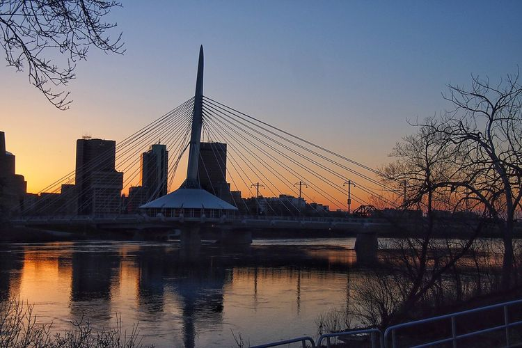 Winnipeg summers Architecture Sunset Built Structure Sky Water Bridge - Man Made Structure River