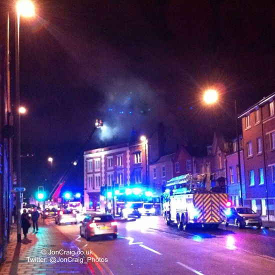 Fore grips building in Hotwells as one man rescued feom top floor by neighbour with ladder... Grainbarge Bristol Hotwells Fire