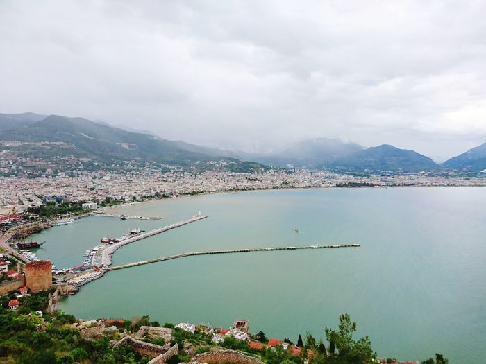 Alanya Mountain High Angle View Water Landscape Outdoors Nature Vacations Day Beauty In Nature Travel Destinations Sky City Eye Em New Here Vacation Horrizon Trippin' Seaview Sea And Sky Turkey Turkeyphotos