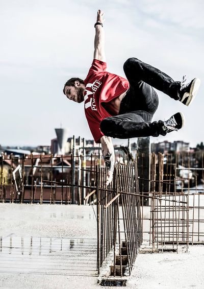 moving Outdoors Architecture City Healthy Lifestyle Leisure Activity Young Adult One Person Parkour Jump Dance Dancer Murskasobota Prekmurje Slovenia First Eyeem Photo