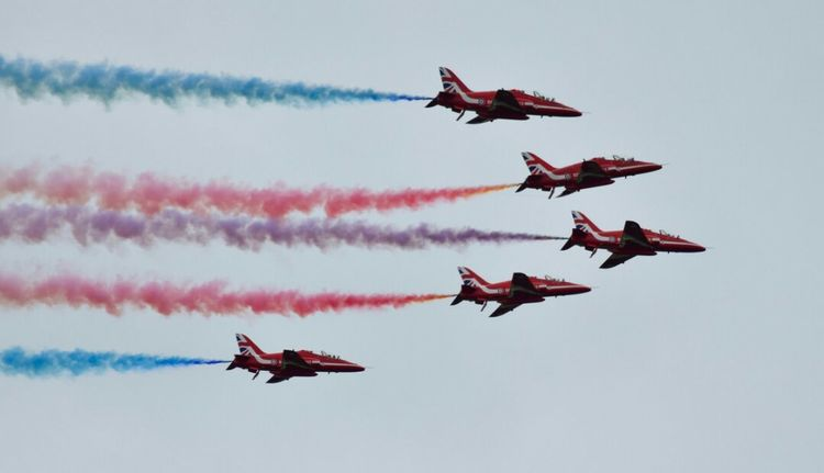 Raf Redarrows Flying Airshow Teamwork Smoke - Physical Structure Vapor Trail Airplane Air Force Formation Flying Arrangement Mid-air No People Sky Outdoors Military Performance Day Air Vehicle Cloud - Sky Fighter Plane Military Airplane Nikonphotographer Aviation Aviationphotography