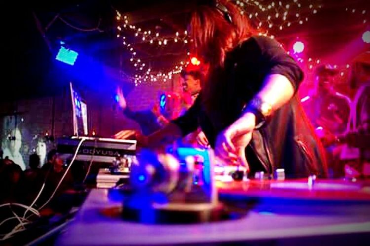 Dj Spinderella via RBC in Deep EllumSpinderella 90's  Everything Party Deep Ellum RBC Dallas Texas Nightlife Arts Culture And Entertainment Nightclub Turntable Dj Music Sound Mixer People Performance Illuminated One Person